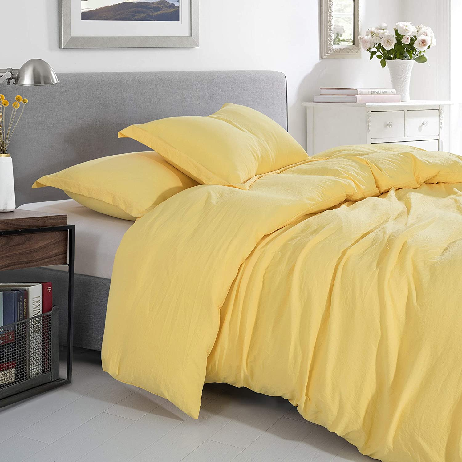 Prewashed Vintage Linen Style Crinkle Duvet Set - Extra Soft, Lightweight, Protective Bed Duvet Cover and Shams for All Season Comfort - Corner Ties and Quick Zip Closure - Full/Queen - Yellow