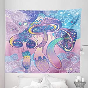 Lunarable Mushroom Tapestry King Size, Trippy Drawing Hippie Design Sixties Visionary Psychedelic Shamanic, Wall Hanging Bedspread Bed Cover Wall Decor, 104