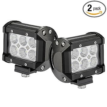 Amazon Com Led Light Bar 2pcs 18w 4 By Glaretek Waterproof