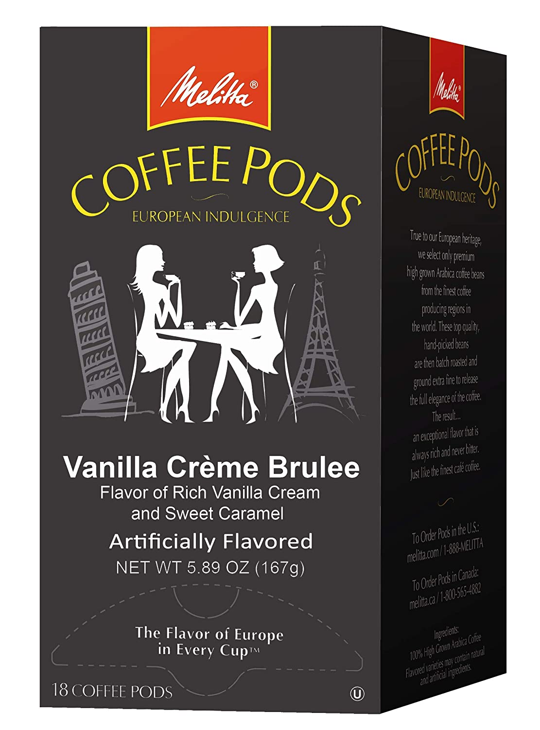 Melitta Coffee Pods for Senseo & Hamilton Beach Pod Brewers, Vanilla Creme Brulee Flavored Coffee Medium Roast, 18 Count