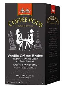 Melitta Coffee Pods for Senseo & Hamilton Beach Pod Brewers, Vanilla Creme Brulee Flavored Coffee Medium Roast, 18 Count