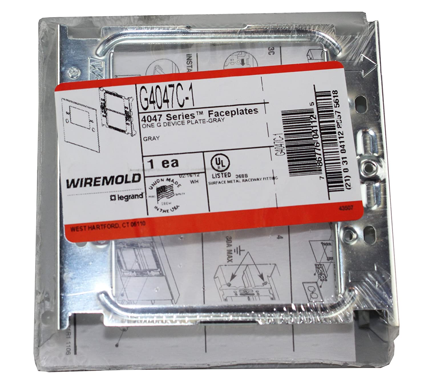 Amazon.com : Walker Wiremold G4047C-1 2 Gang Gray Cover Plate 4000 ...