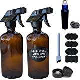 Refillable Amber 16 oz Glass Spray Bottles with Labels (2 Pack), Chalk Pen - Perfect for Essential Oils, Cleaning Products, or Aromatherapy - Durable Trigger Sprayer w/Mist & Stream Settings