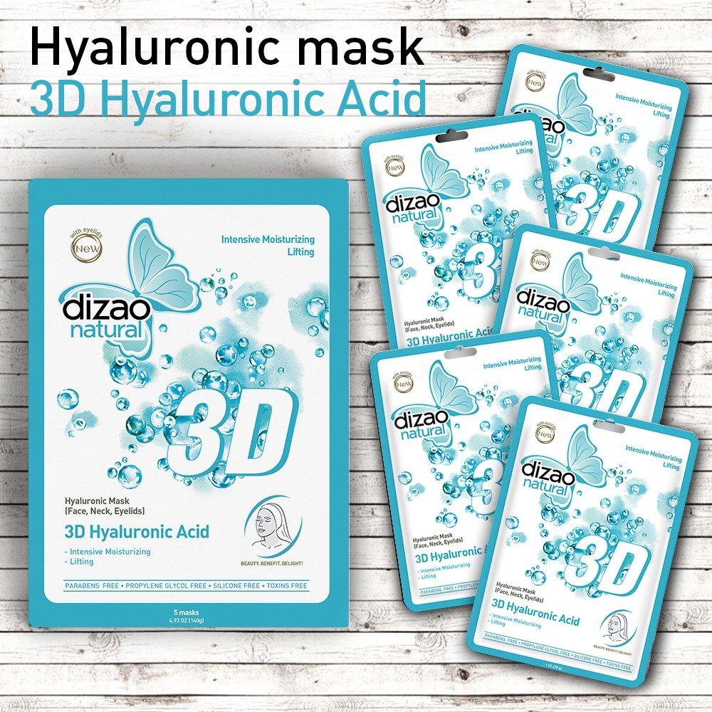 Acido ialuronico 3D (maschere da 5 fogli) Maschera viso naturale DIZAO. Maschera ialuronica (viso, collo, palpebre) Intensivo idratante, aspetto di sollevamento. GRATIS: Parabeni, Propylene Glycol, Tossine. Sta funzionando! Examone Enterprises