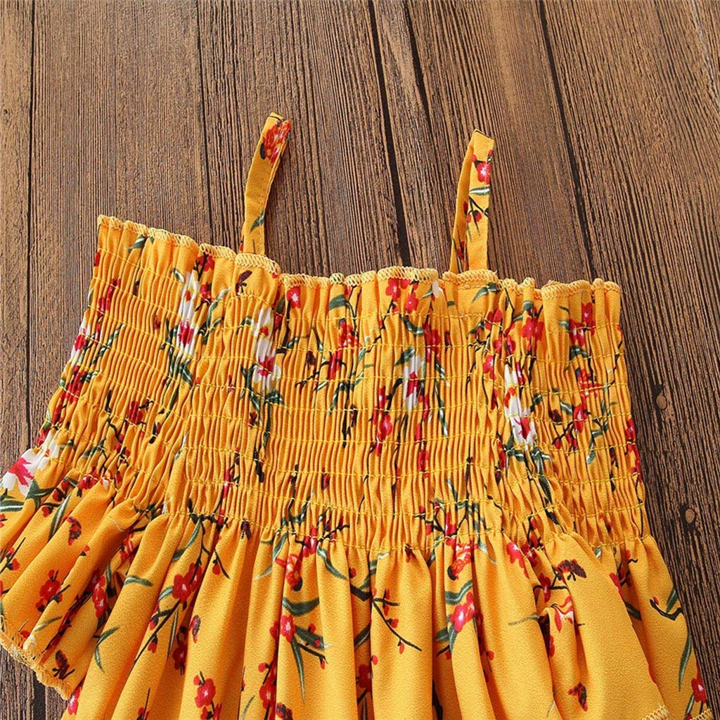 Little Girl Princess Sets,Jchen for 2-7 Yrs Baby Kids Little Girls Off Shoulder Floral Print Tops Denim Tassel Pants Outfits Age:3-4 Years, Yellow