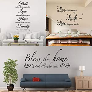 3 Sheets Wall Decals Inspiring Wall Quotes Stickers Warm Wall Decor Decal for Living Room Bedroom Decoration (Live, Faith and Bless)
