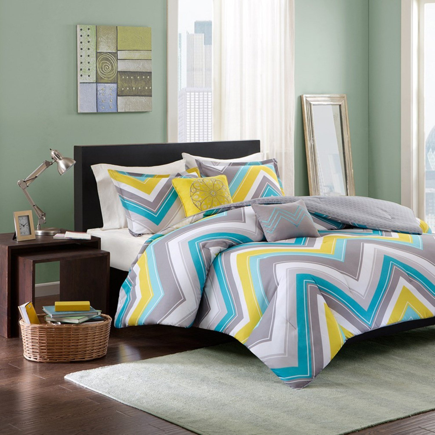 5 Piece Comforter Set Blue Full/Queen
