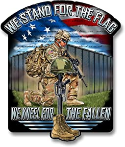 Stand for The Flag Kneel for The Fallen 7 inch Decal for Cars, Trucks, Motorcycles, Boats & Laptops - Support Our Veterans