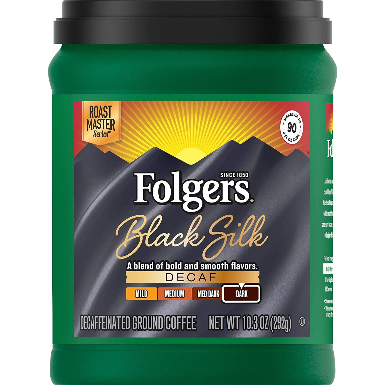 Folgers Black Silk Decaf Dark Roast Ground Coffee, 10.3 Ounces