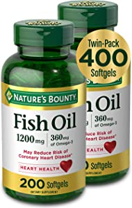Nature's Bounty Fish Oil Pills and Omega 3 Dietary Supplement, Supports Cardiovascular and Heart Health, 1200mg, 200 Softgels, 2 Pack