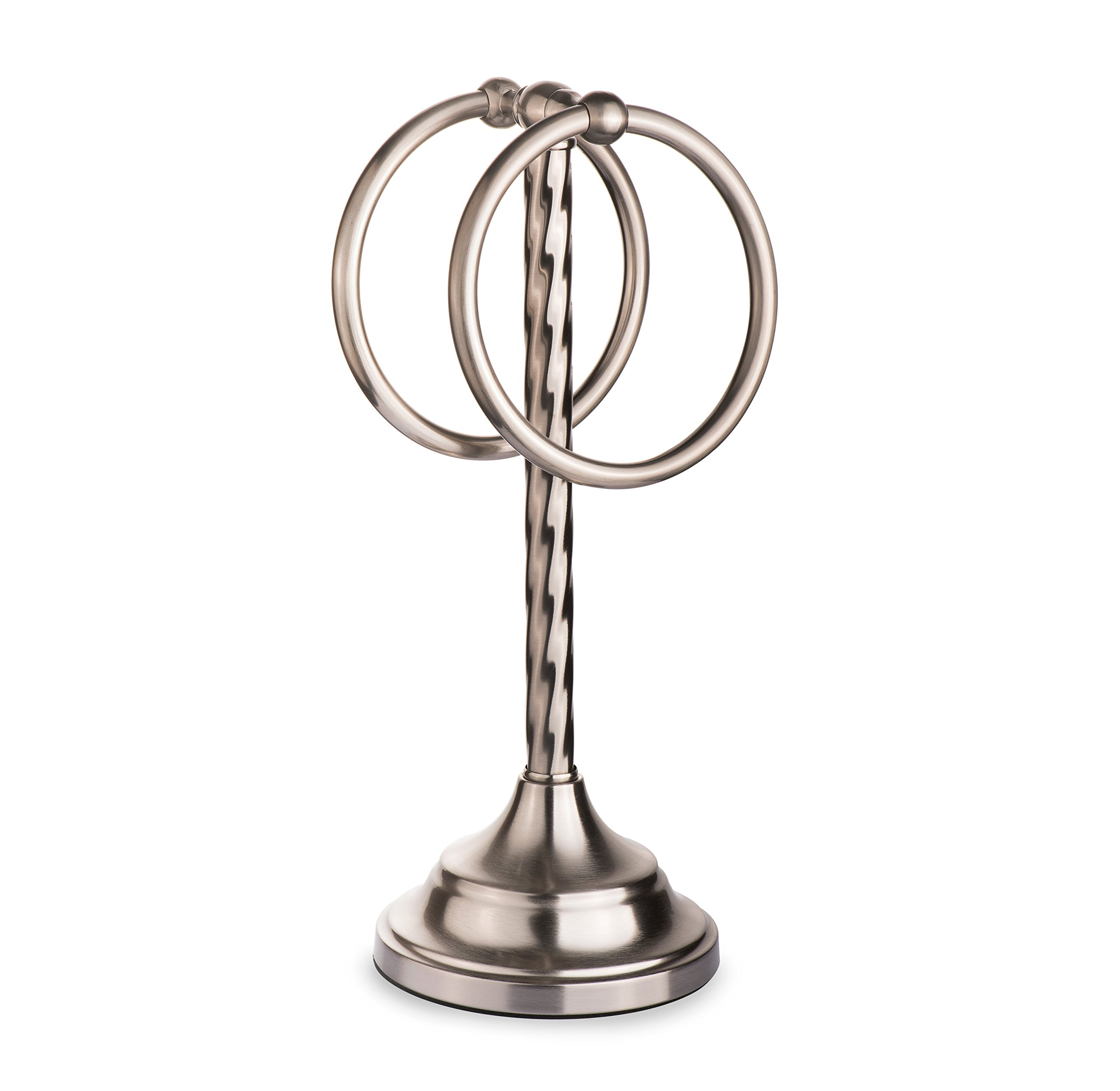 AMG and Enchante Accessories, Free Standing Fingertip Hand Towel Ring Modern Spiral Holder Tree Rack, TT100002 SNI, Satin Nickel