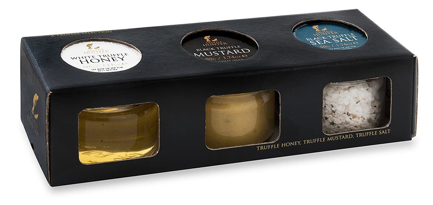 TruffleHunter Real Black & White Truffle Condiment Selection Gift Box - Acacia Honey, Dijon Mustard & Flaked Cornish Sea Salt - Gourmet Food Cooking Garnish Seasoning Dressing Marinade - Vegetarian
