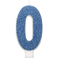 Unique Party 84260 84260-Glitz Blue & Silver Number 0 Birthday Candle, Blue, Age 0