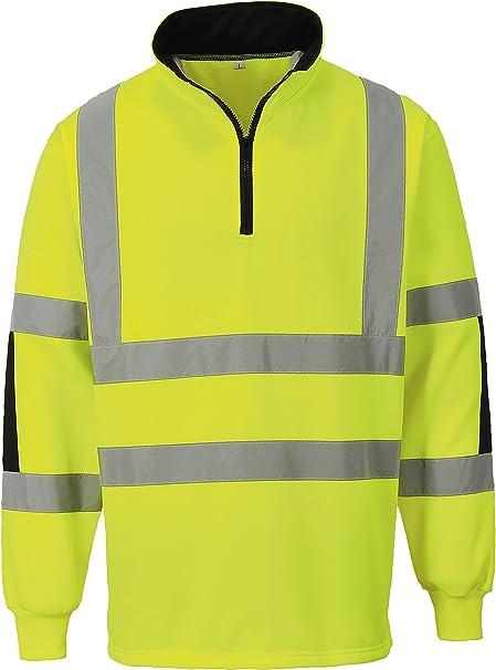 Hi-Vis Rugby Shirt Yellow Jumper Hi Viz Safety Hoodie Sweatshirt B308 S-XXXL