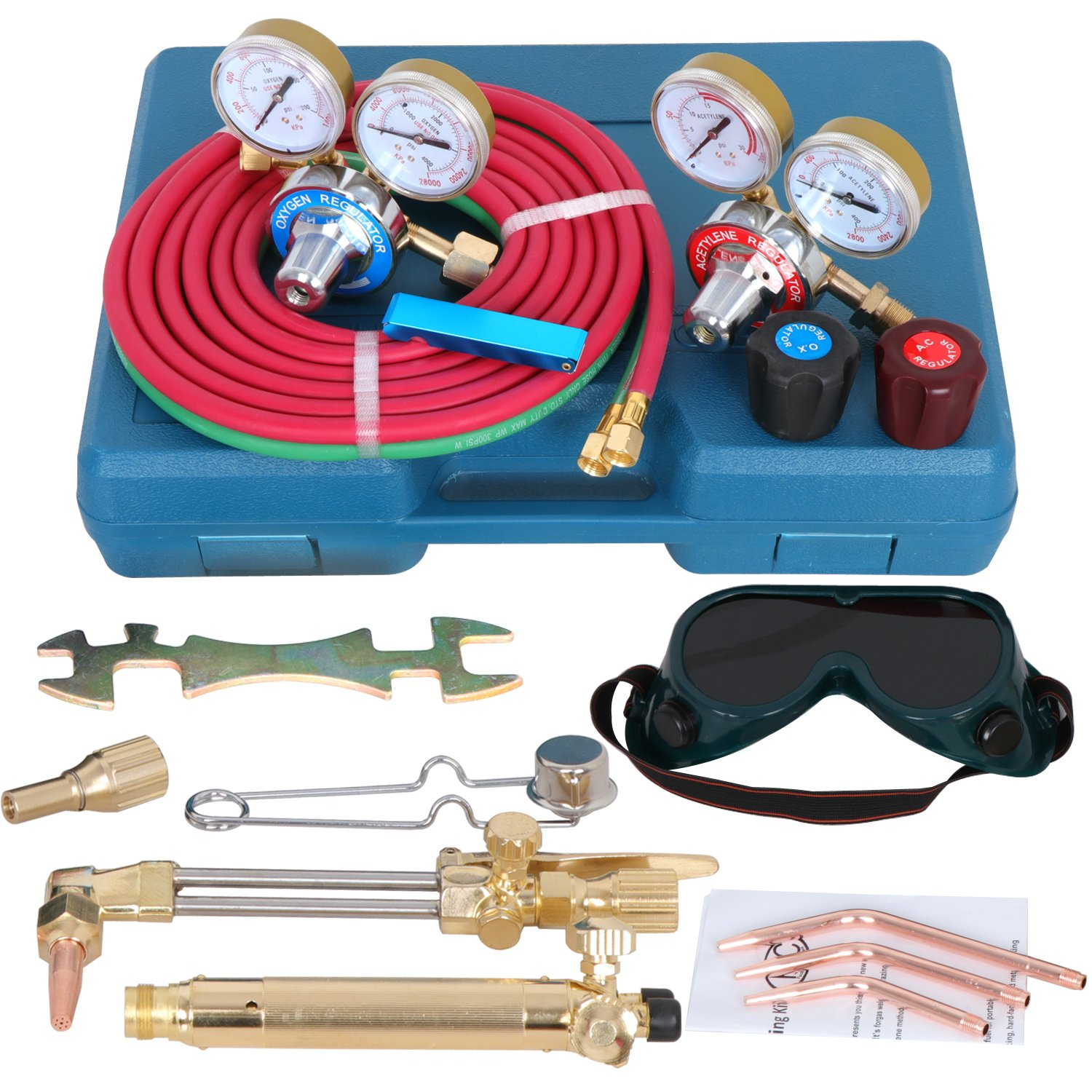 F2C Gas Oxy Oxygen Acetylene Welding & Cutting Brazing Torch Kit Welder Tool Set Kit W/Portable ABS Case (11-Pieces)