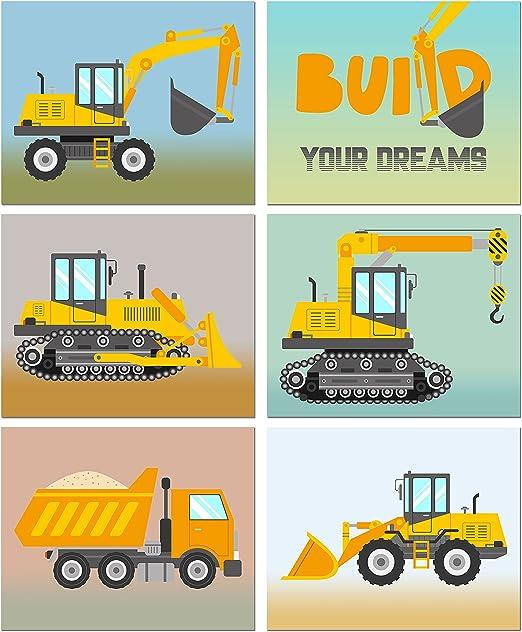 CONSTRUCTION CAR TONKA TRUCK art prints BABY BOY NURSERY WALL ART DECOR