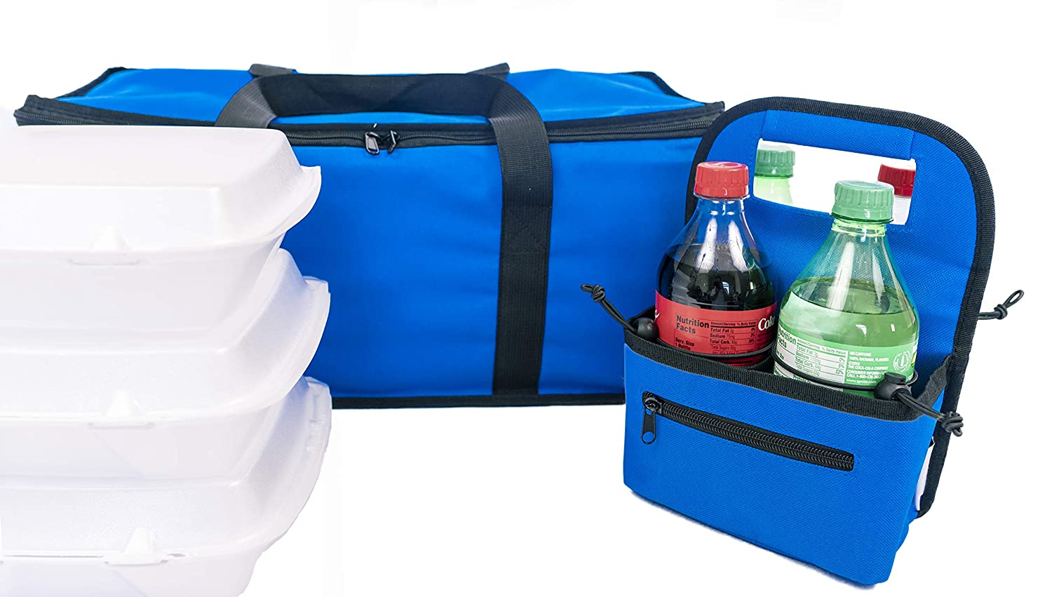 EMMandSOPHIE Insulated Food Delivery Bag - BLUE- Drink Carrier for Delivery - WINNING PROFESSIONAL COMBO -Sturdy Durable Commercial Insulated food bag - 22