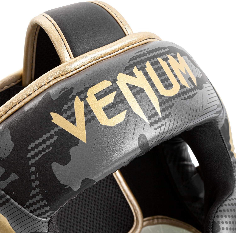 Dark camo//Gold Venum Elite Headgear
