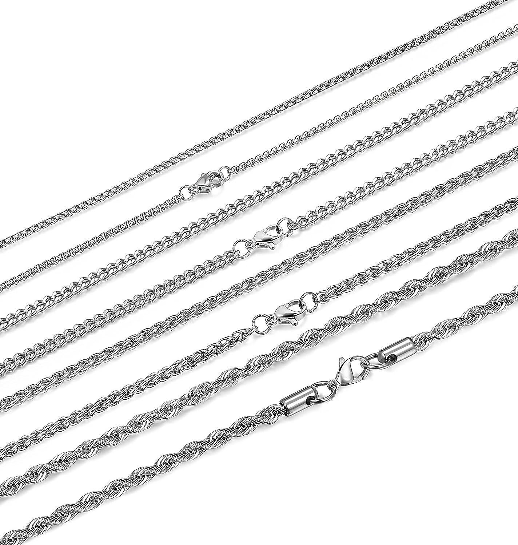 Sailimue 4Pcs Edelstahl M/änner Kette f/ür Herren Damen Halskette Weizen Rolo Kabel Kette Chain 2-4mm 51-71CM