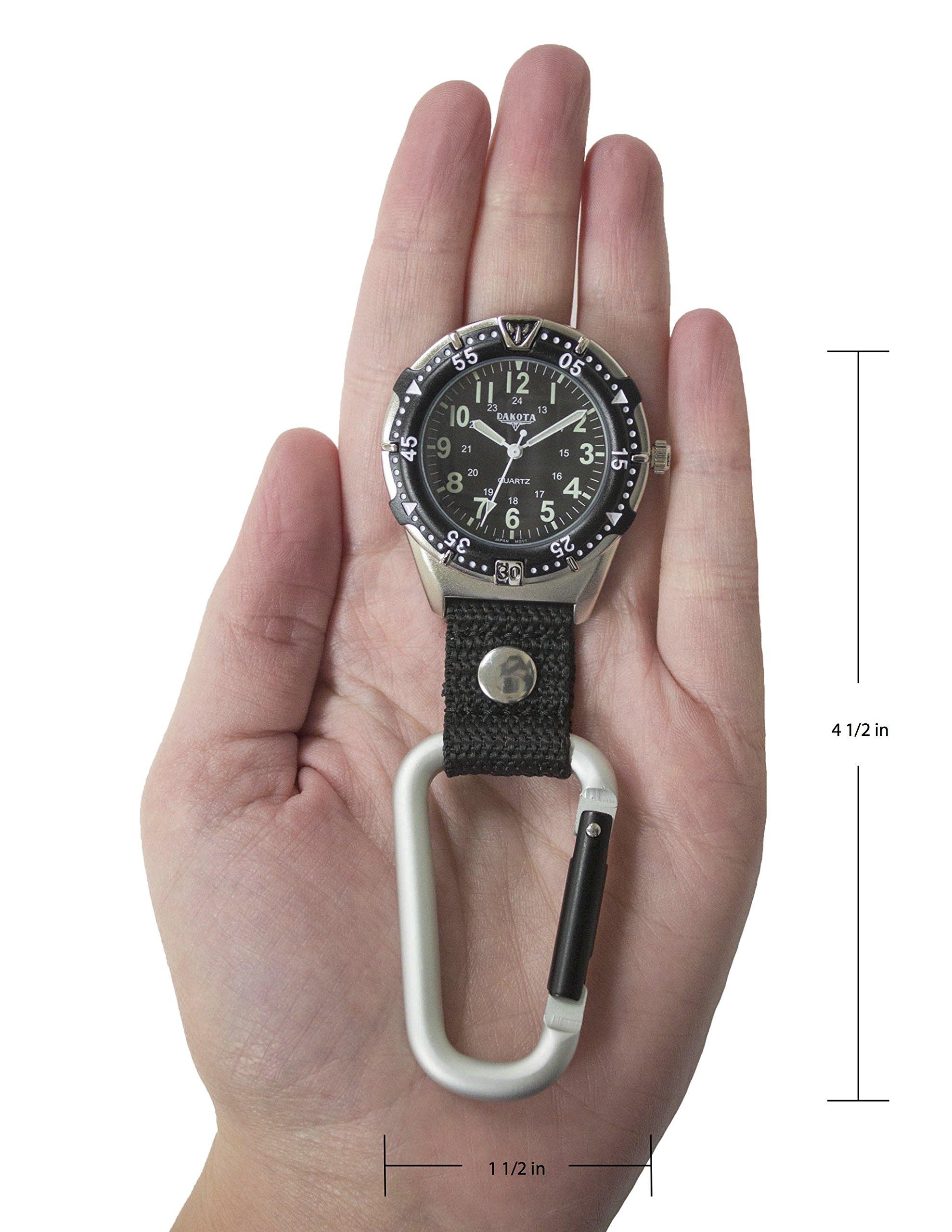 Dakota Watch Company Men's Aluminum Backpacker Clip Watch, Black by Dakota (Image #3)