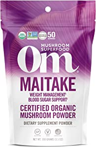 Om Organic Mushroom Superfood Powder, Maitake, Weight Loss & Blood Sugar Support Supplement 3.5 Ounce (Pack of 1)