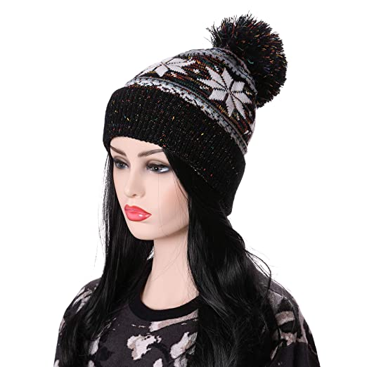 568e4c84c5b LANLEO Women Girl Winter Knit Beanie Soft Warm Fleece Lining Pompoms Hats  Snow Ski Cap (