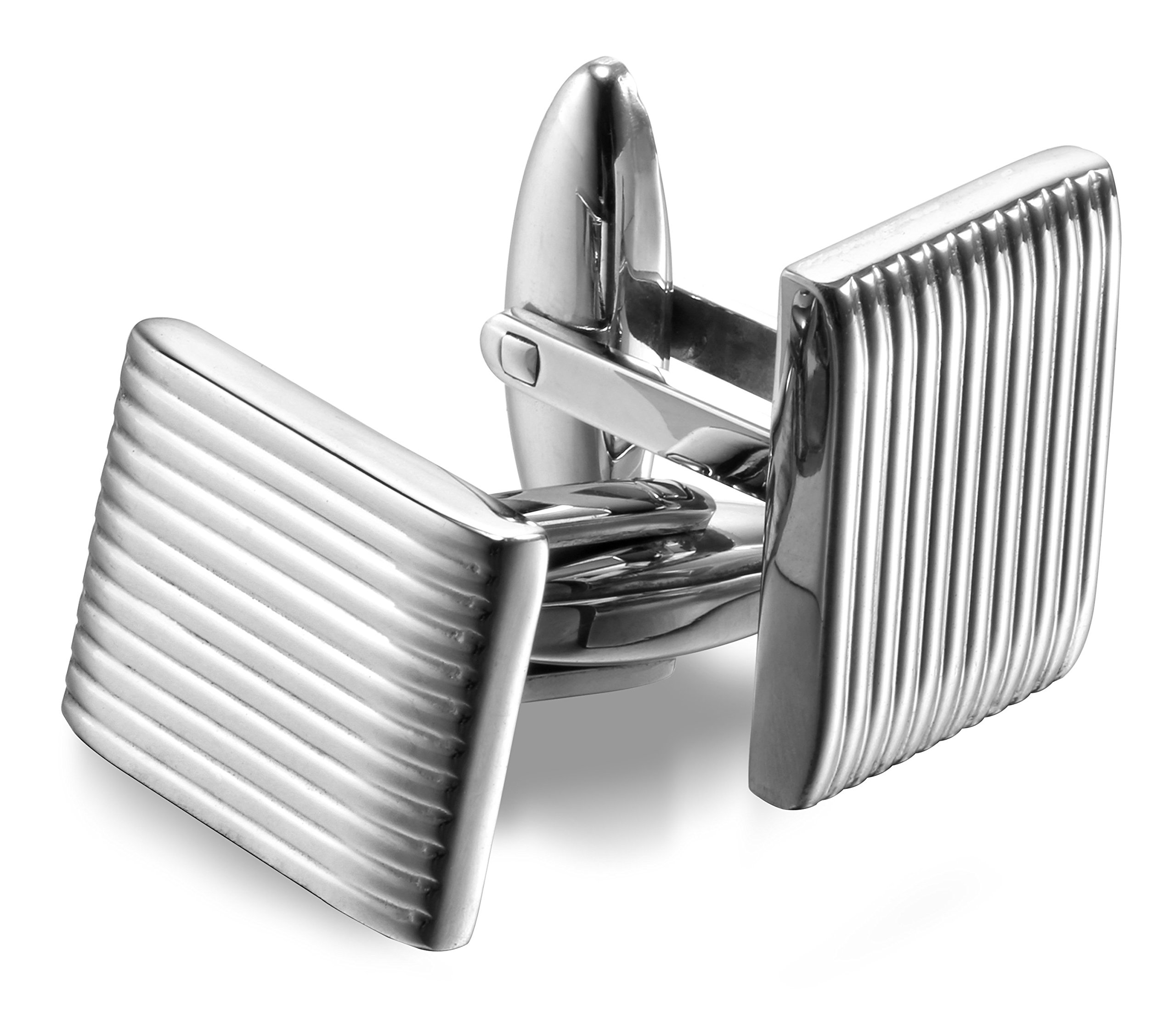 Men's High-Polished 316L Stainless Steel Cufflinks with Gift Box – Premium Quality (Steel)