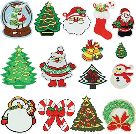 Christmas Present- Gift Set Of 2 SMALL Christmas Iron On Applique Patch