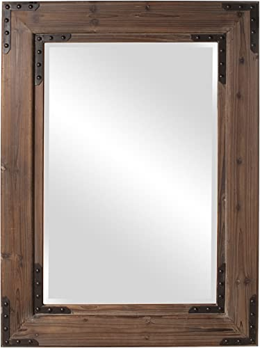 Howard Elliott Caldwell Rectangular Hanging Wall Mirror, Natural Wood Frame