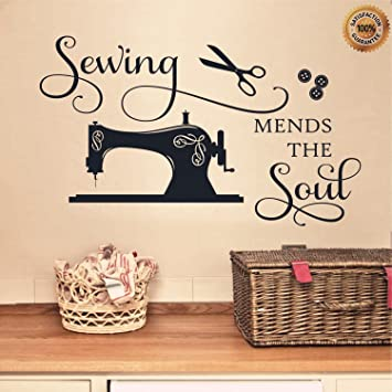 Ditooms Sewing Wall Decals Quotes Sewing Mends The Soul Lettering Sayings Vinyl  Wall Decal Stickers