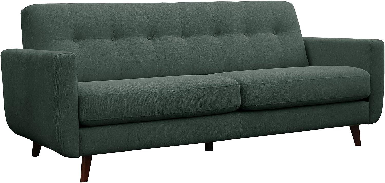 "Rivet Sloane Mid-Century Modern Sofa with Tufted Back, 79.9""W, Emerald Green"