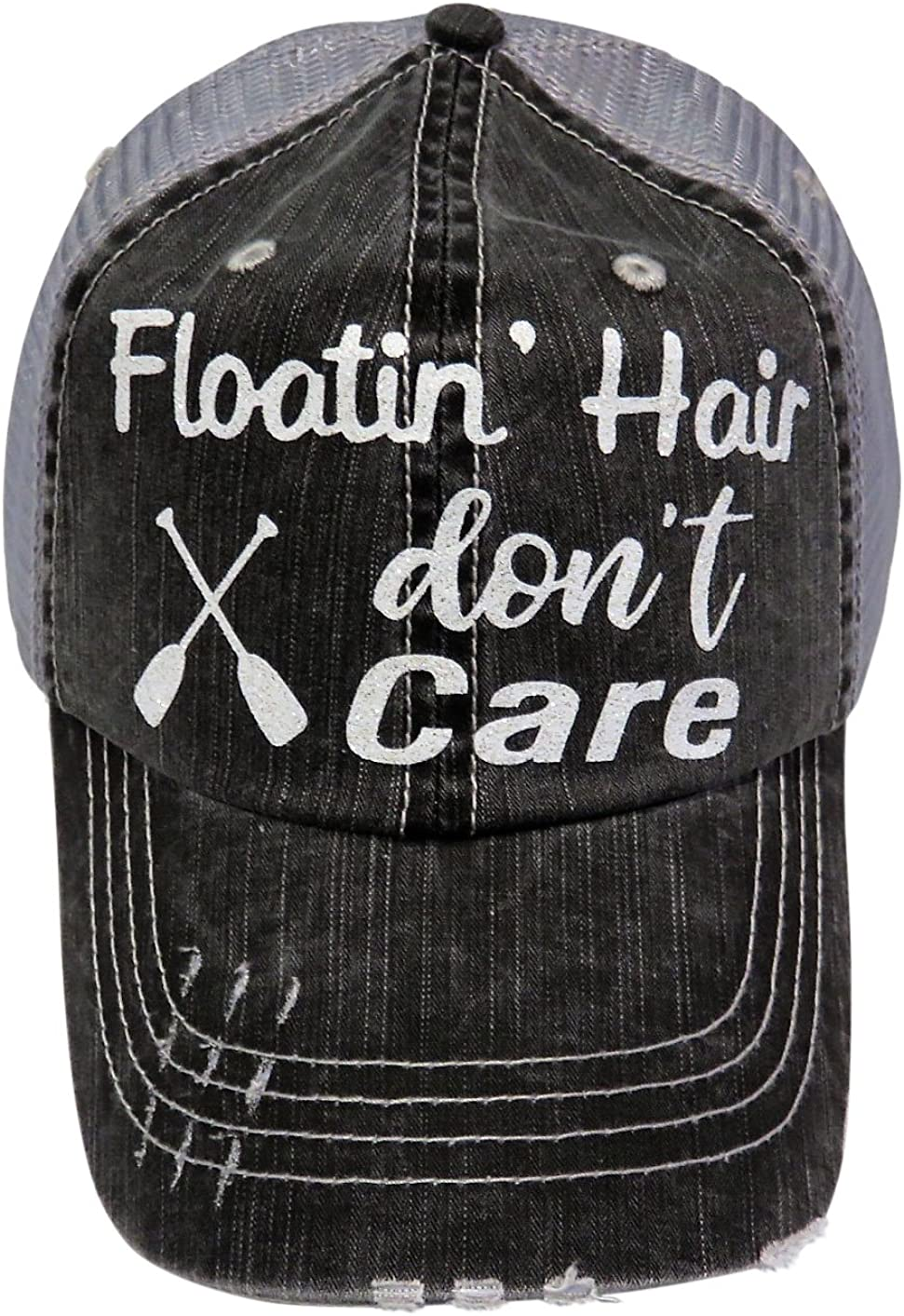White Glitter Floatin' Hair Don't Care Distressed Look Grey Trucker Cap Hat River