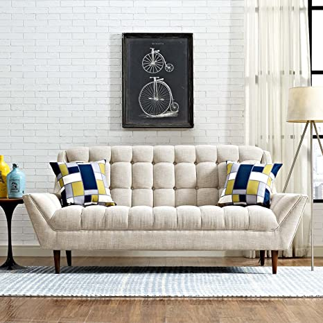 Modway Response Mid-Century Modern Loveseat Upholstered Fabric in Beige