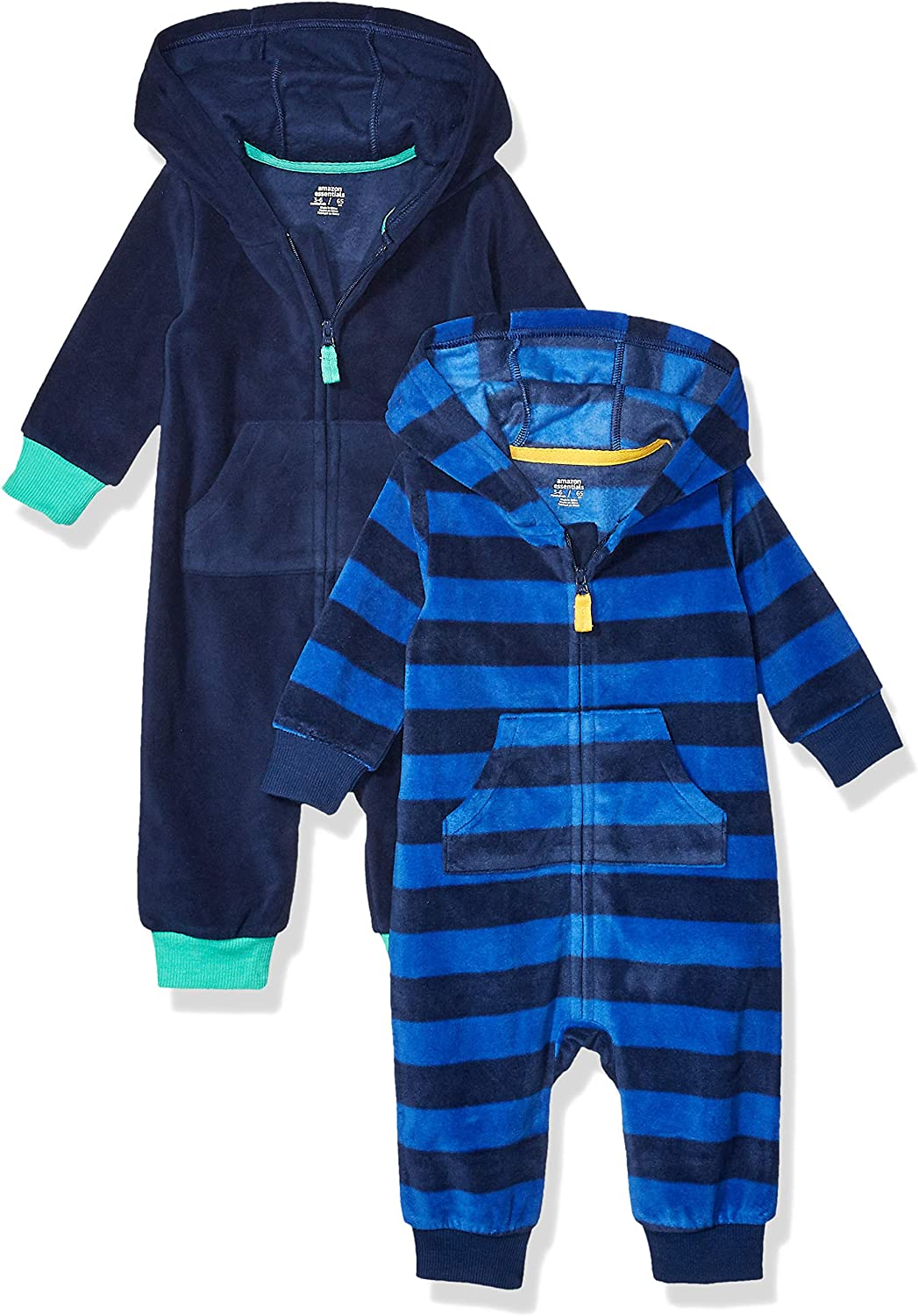 Essentials Toddler Boys 2-Pack Microfleece Hooded Coverall