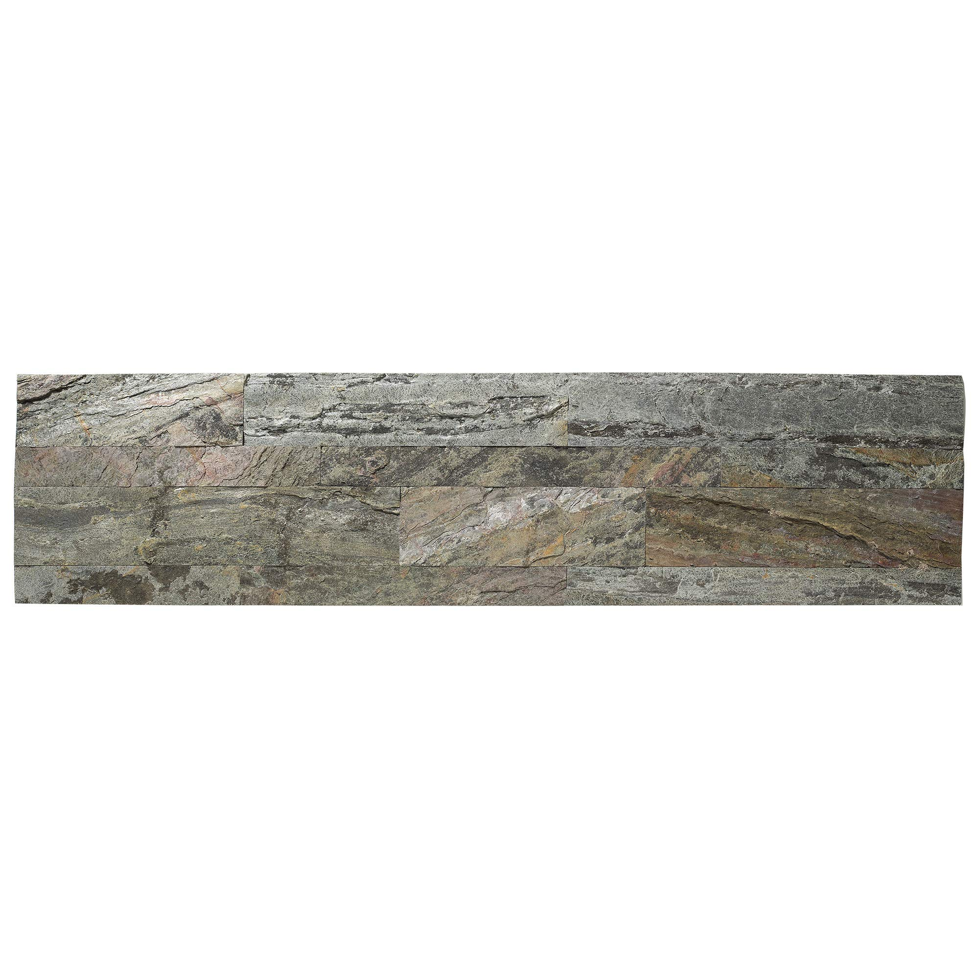 Aspect Peel and Stick Stone Overlay Kitchen Backsplash - Weathered Quartz (5.9'' x 23.6'' x 1/8'' Panel - Approx. 1 sq ft) - Easy DIY Tile Backsplash by Aspect
