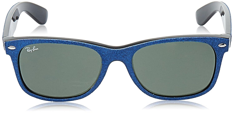 72969bb944b Amazon.com  Ray-Ban Men s New Wayfarer Square Sunglasses BLACK TOP BLUE  ALCANTARA 55 mm  Ray-Ban  Clothing
