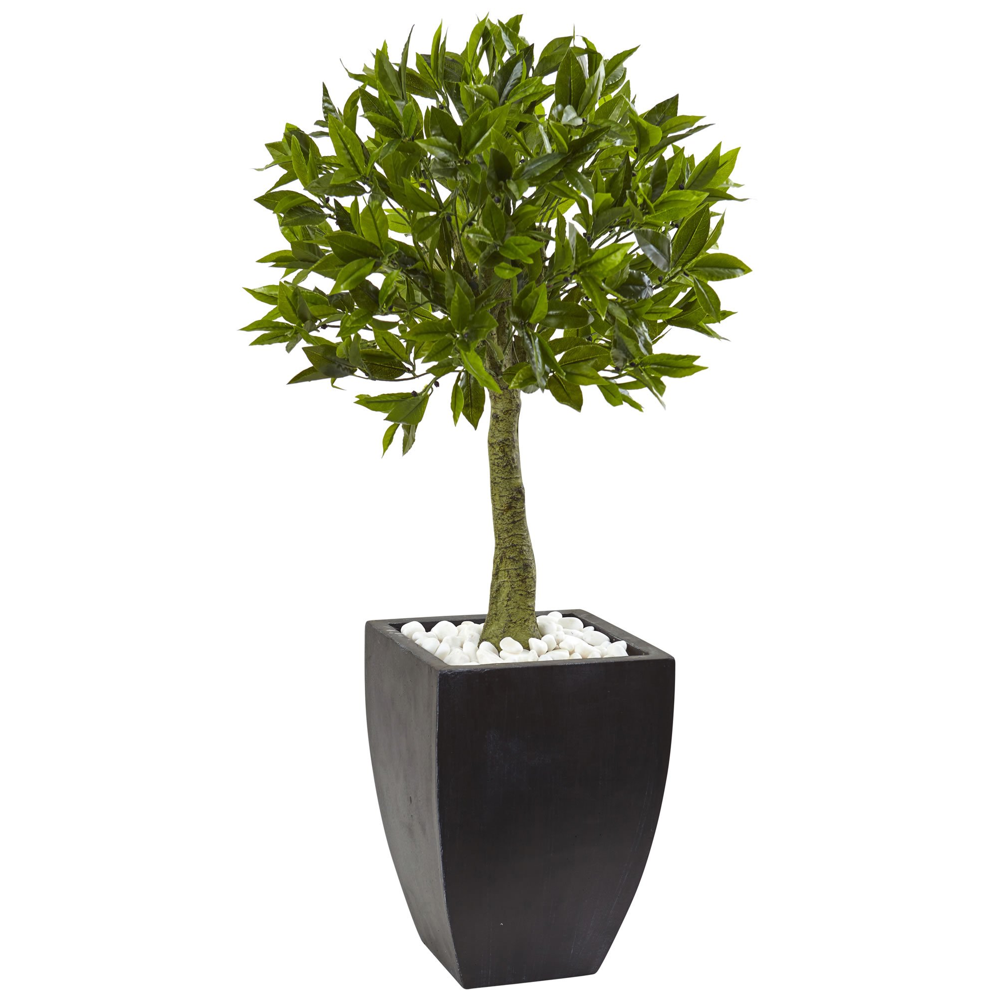 Nearly Natural 5950 42'' UV Resistant (Indoor/Outdoor) Bay Leaf Topiary with Black Wash Planter