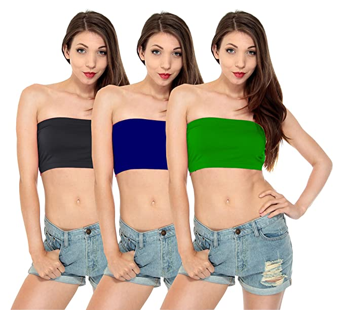 b5d9ad09c06 Fashion Line Cotton Lycra Seamless Tube Bra for Girls   Women (Black ...