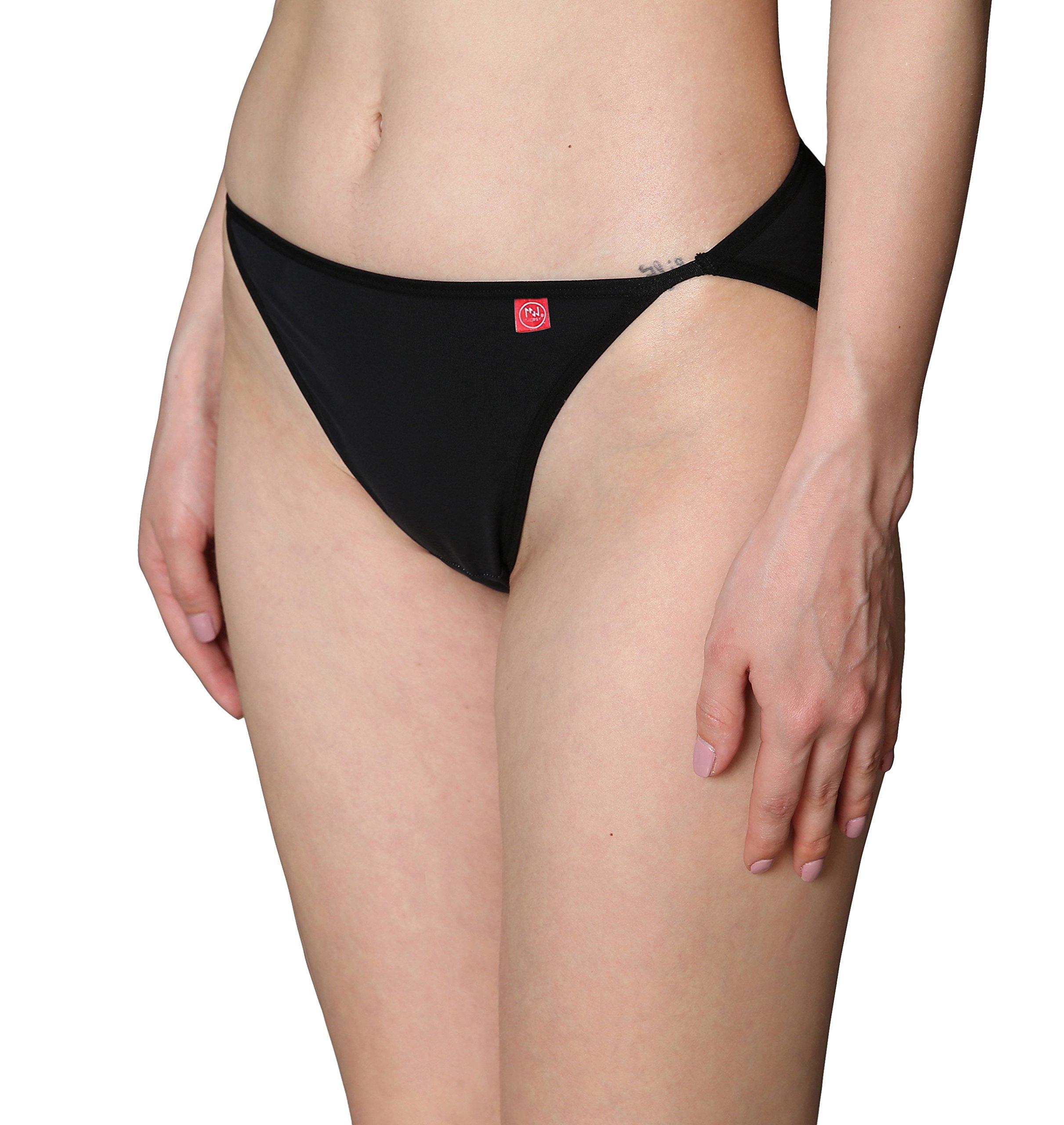 Innersy Women's Underwear Strecth Cotton High-Leg String Bikini Panties (3 Pack) (Large(Waist:30.5''-32''), Light Gray&Ensign&Black)