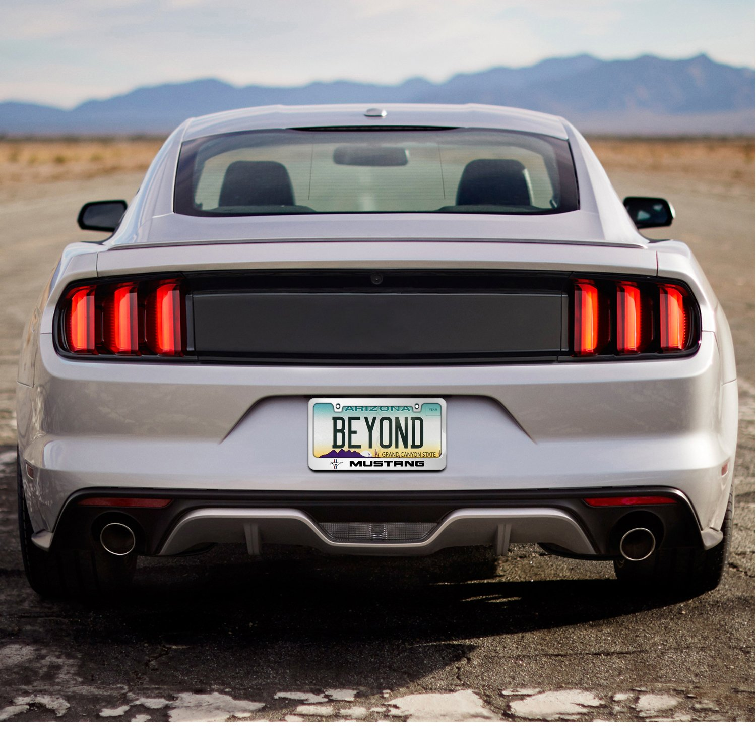 Ford Mustang Mirror Chrome Metal License Plate Frame by iPick Image Made in the USA Official Licensed Product