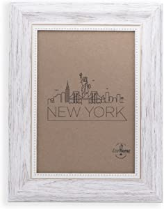5x7 Picture Frame White/Gold - Mount/Desktop Display, Frames by EcoHome