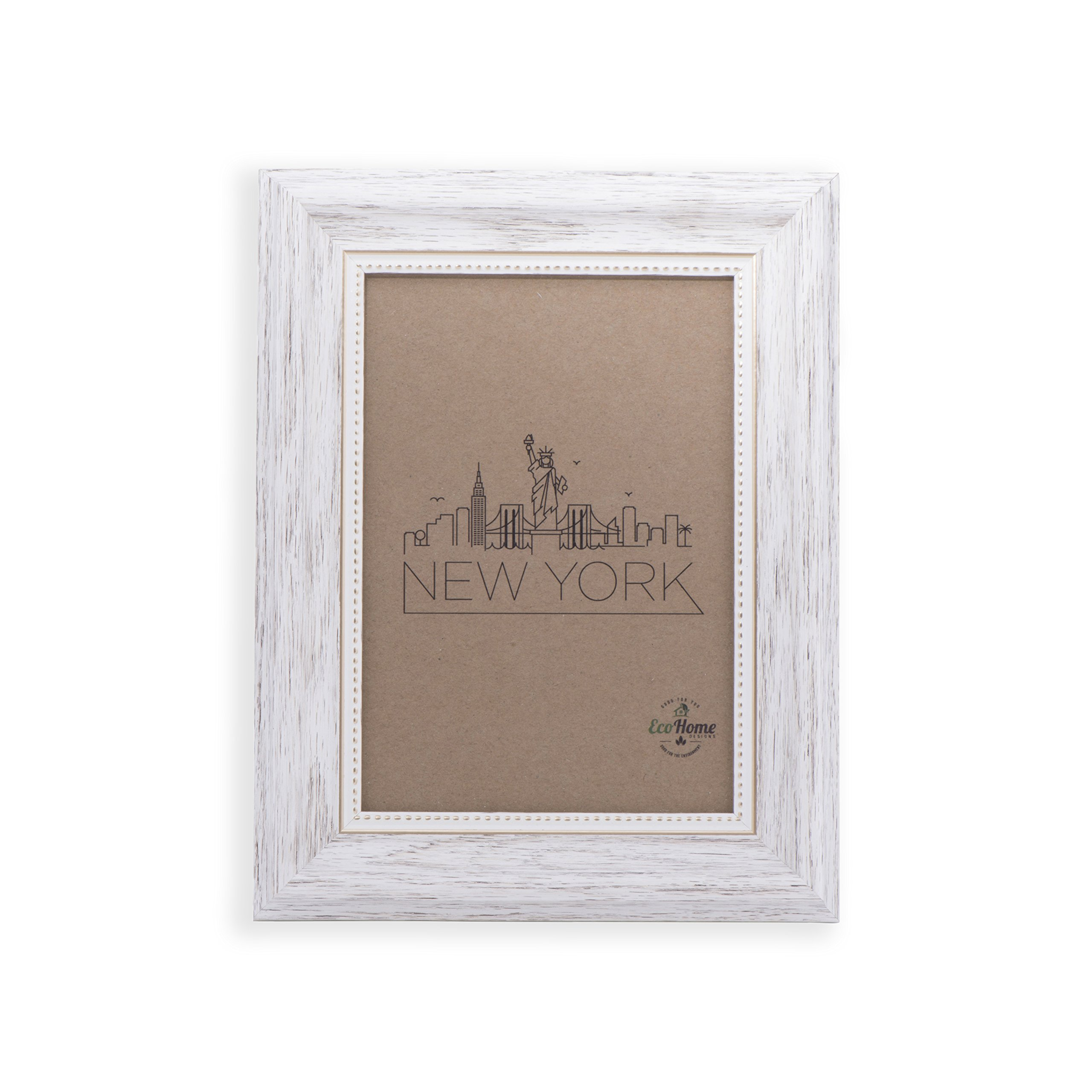 5x7 Picture Frame White/Gold - Mount/Desktop Display, Frames by EcoHome by EcoHome