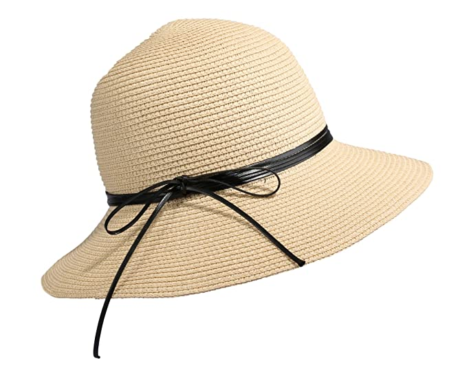 3f55589ec34 Home Prefer Womens Straw Sun Hat UPF50+ Wide Brim Floppy Hat Summer Beach  Cap (B