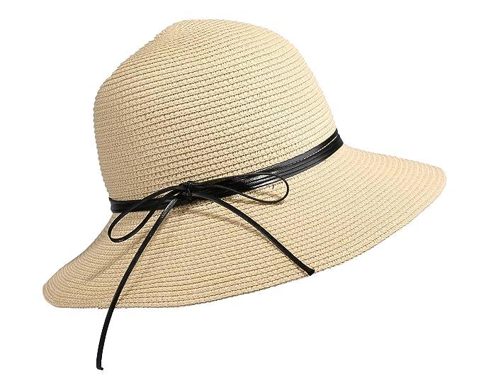 b78189e4588da Home Prefer Womens Straw Sun Hat UPF50+ Wide Brim Floppy Hat Summer Beach  Cap (B-Beige) at Amazon Women s Clothing store