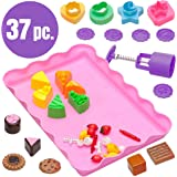 USA Toyz Play Sand Molds for Kids - 37 Pc Kids Sand Toys Play Sand Kit with Baking Themed Sand Molds Shapes + Play Sand Mold Tray