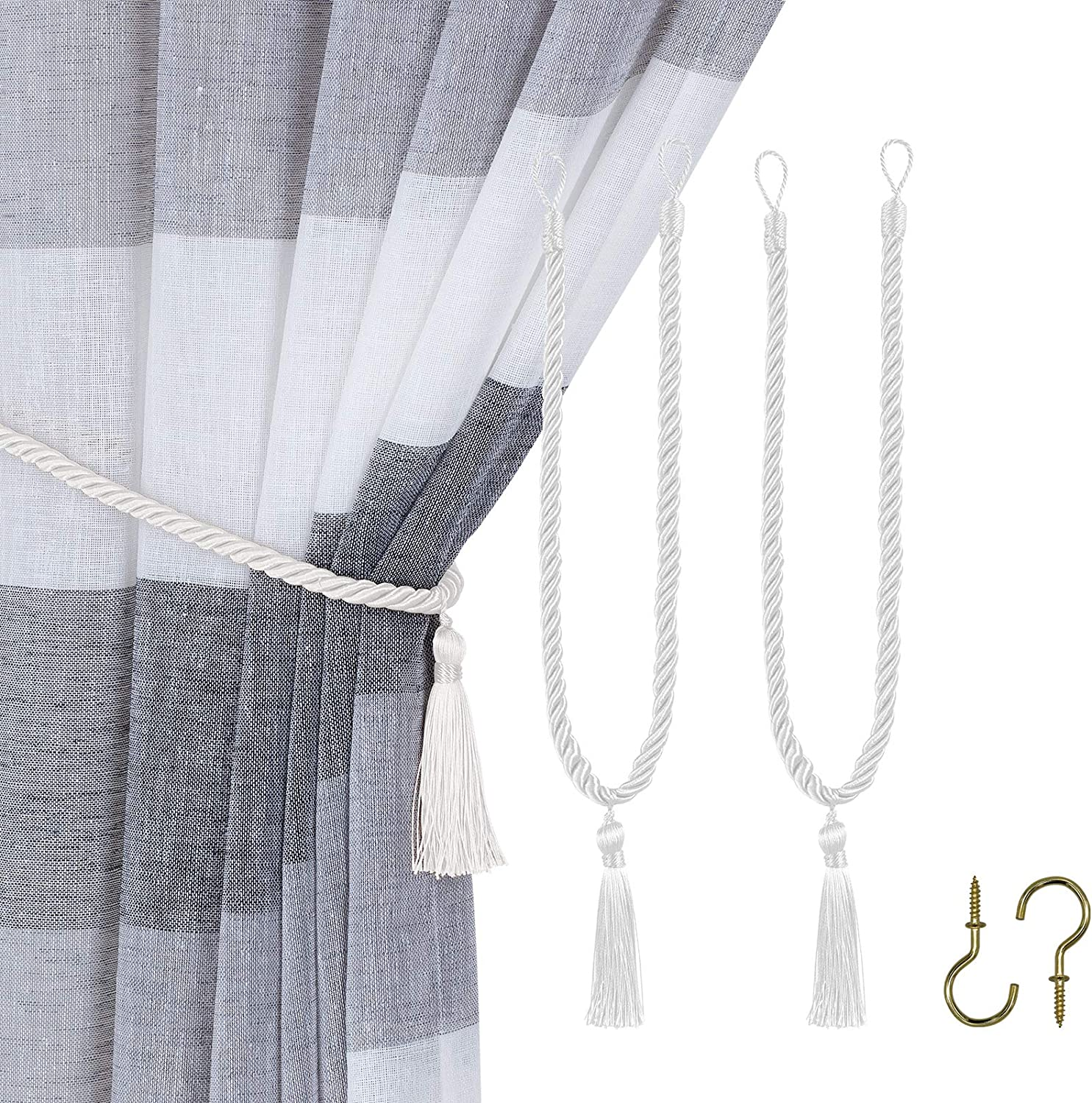 Home Queen Decorative Tassel Rope Tie Backs for Window Curtain, Hand Knitting Buckle Cord Drapery Holdbacks, Set of 2, Silver White