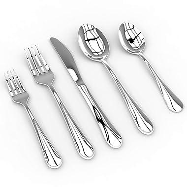Silverware Set - 20-Piece Flatware Cutlery Set - Stainless Steel - Mirror Polishing - Elegant Modern Eating Utensils - Service for 4 - Includes Knife/Fork/Spoon