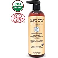 PURA D'OR Carrier Oil: Organic Sweet Almond Oil 16 oz USDA Certified Organic 100% Pure & Natural Soothing Oil for Skin & Face