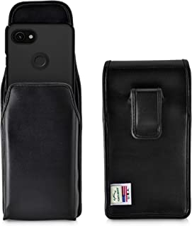 product image for Turtleback Holster Designed for Google Pixel 3 XL and Pixel 3A XL (2019) Vertical Belt Case Black Leather Pouch with Executive Belt Clip, Made in USA