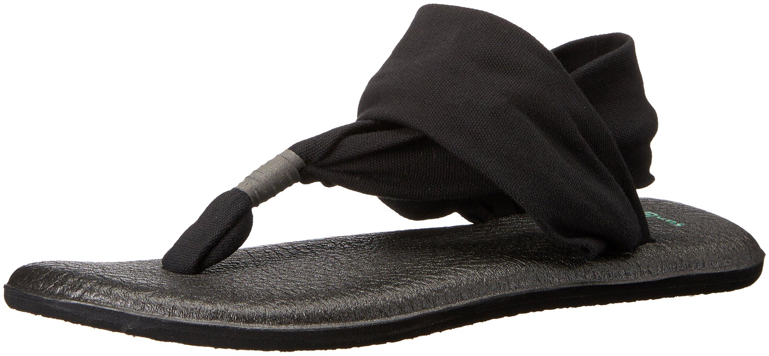 Sanuk Women's Yoga Sling 2 Flip Flop,Black,10 M US